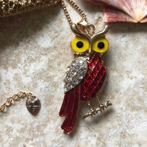 [NWOT] Betsey Johnson Red Owl Necklace